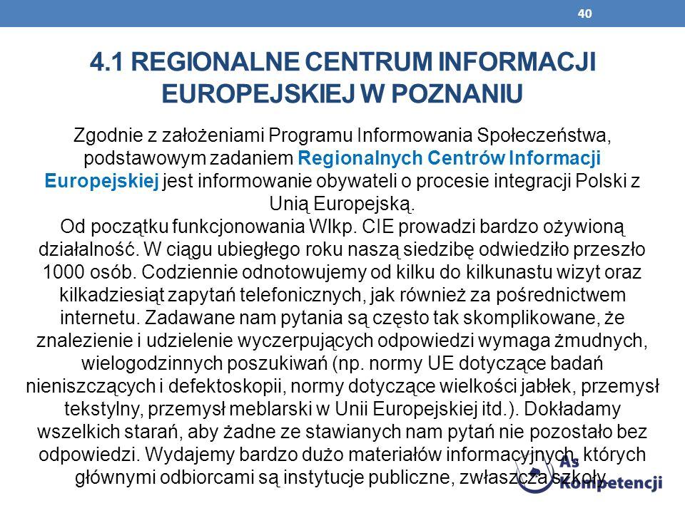 40 Zgodnie z założeniami Programu Informowania Społeczeństwa, podstawowym zadaniem Regionalnych Centrów Informacji Europejskiej jest informowanie obyw