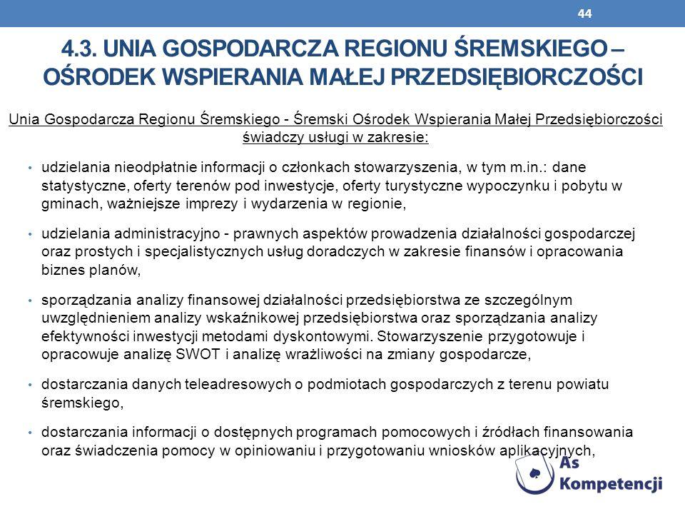 44 Unia Gospodarcza Regionu Śremskiego - Śremski Ośrodek Wspierania Małej Przedsiębiorczości świadczy usługi w zakresie: udzielania nieodpłatnie infor