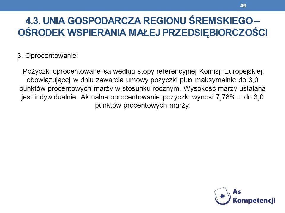 49 3. Oprocentowanie: Pożyczki oprocentowane są według stopy referencyjnej Komisji Europejskiej, obowiązującej w dniu zawarcia umowy pożyczki plus mak