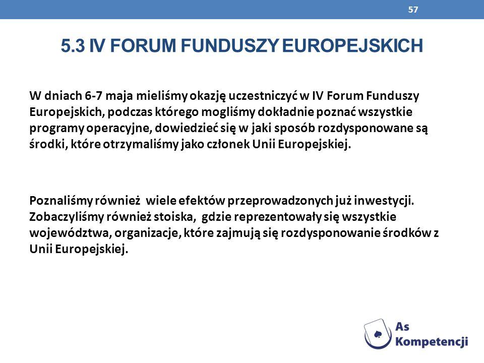 57 W dniach 6-7 maja mieliśmy okazję uczestniczyć w IV Forum Funduszy Europejskich, podczas którego mogliśmy dokładnie poznać wszystkie programy opera