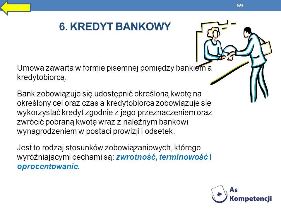 59 6. KREDYT BANKOWY Umowa zawarta w formie pisemnej pomiędzy bankiem a kredytobiorcą. Bank zobowiązuje się udostępnić określoną kwotę na określony ce