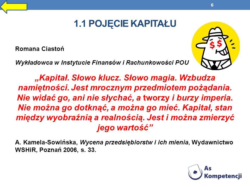 7 Kapitał, to pojęcie z dziedziny ekonomii i finansów, oznaczające dobra (bogactwa, środki, aktywa) finansowe, szczególnie, gdy służą one rozpoczęciu lub kontynuacji działalności gospodarczej.
