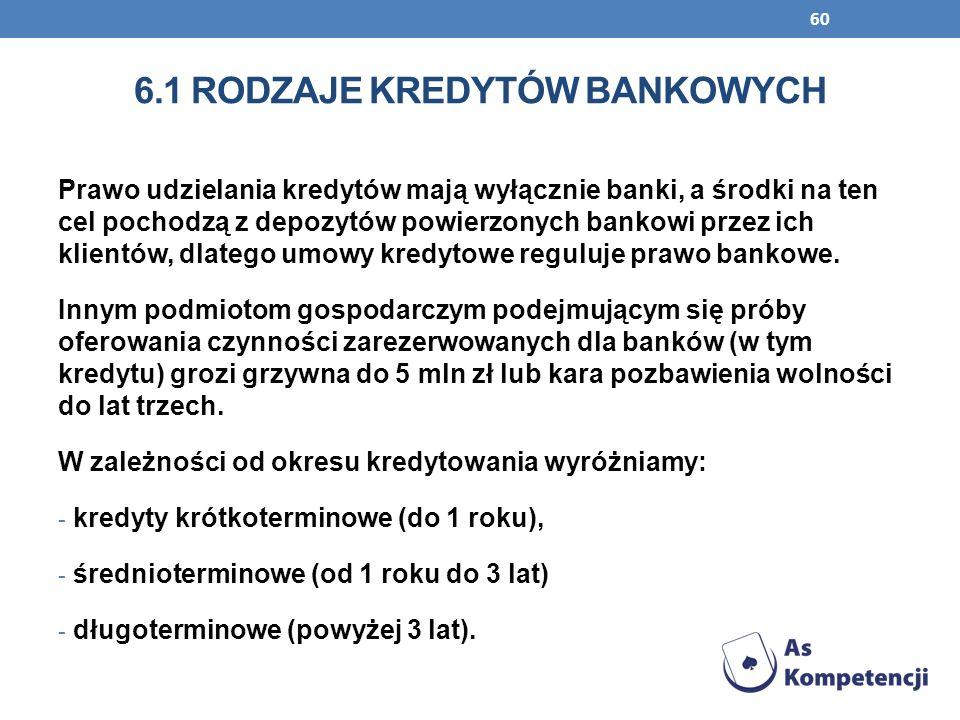 60 6.1 RODZAJE KREDYTÓW BANKOWYCH Prawo udzielania kredytów mają wyłącznie banki, a środki na ten cel pochodzą z depozytów powierzonych bankowi przez