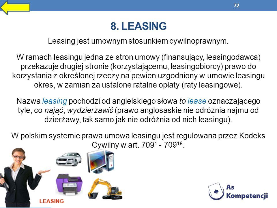 72 8. LEASING Leasing jest umownym stosunkiem cywilnoprawnym. W ramach leasingu jedna ze stron umowy (finansujący, leasingodawca) przekazuje drugiej s
