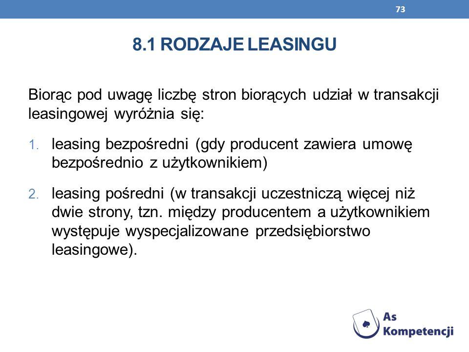 73 8.1 RODZAJE LEASINGU Biorąc pod uwagę liczbę stron biorących udział w transakcji leasingowej wyróżnia się: 1. leasing bezpośredni (gdy producent za