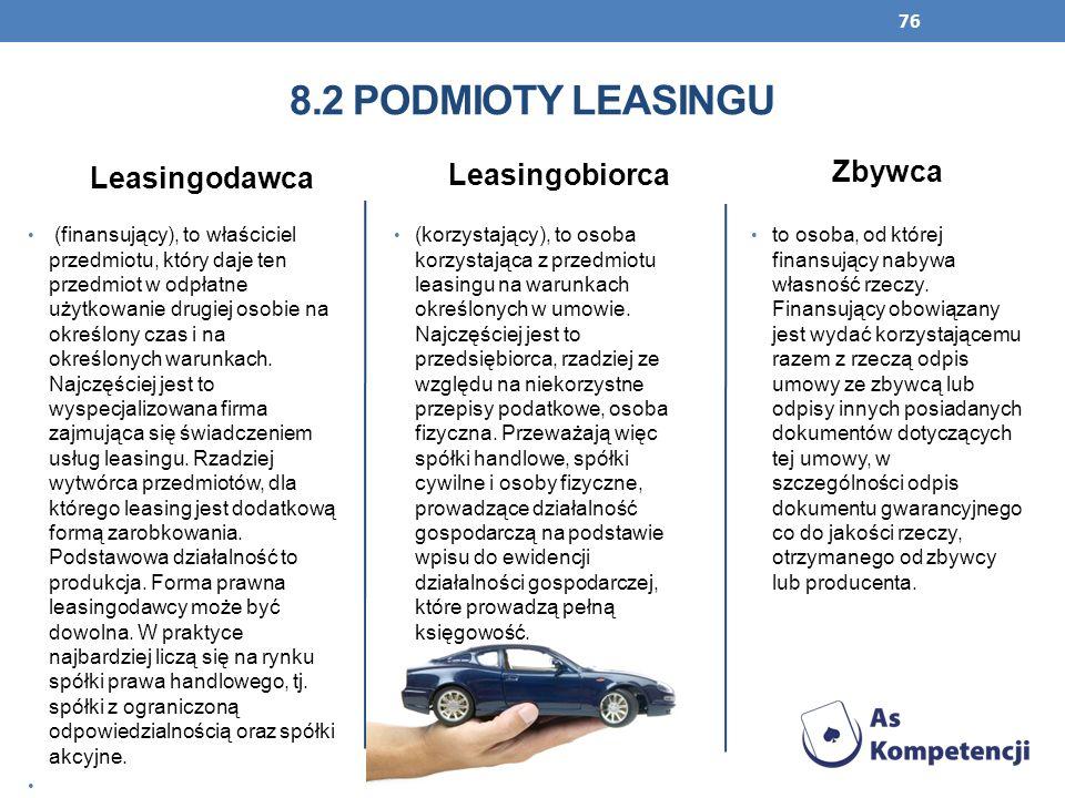 76 Leasingodawca (finansujący), to właściciel przedmiotu, który daje ten przedmiot w odpłatne użytkowanie drugiej osobie na określony czas i na określ