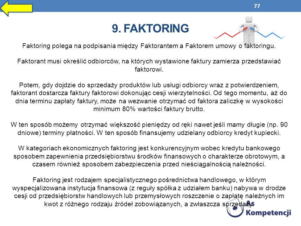 77 9. FAKTORING Faktoring polega na podpisania między Faktorantem a Faktorem umowy o faktoringu. Faktorant musi określić odbiorców, na których wystawi