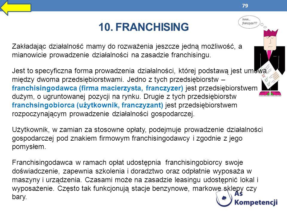 79 10. FRANCHISING Zakładając działalność mamy do rozważenia jeszcze jedną możliwość, a mianowicie prowadzenie działalności na zasadzie franchisingu.