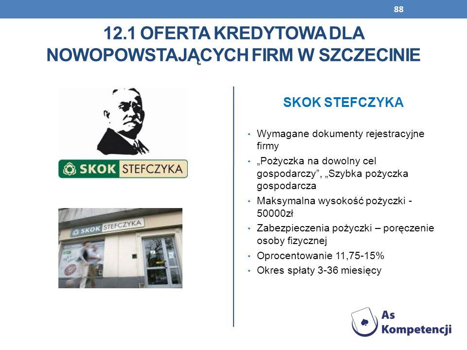 88 12.1 OFERTA KREDYTOWA DLA NOWOPOWSTAJĄCYCH FIRM W SZCZECINIE Wymagane dokumenty rejestracyjne firmy Pożyczka na dowolny cel gospodarczy, Szybka poż