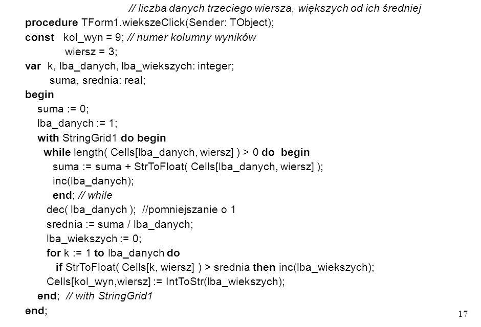 16 procedure TForm1.maxClick( Sender:TObject ); const kol_wyn = 9; // numer kolumny wyników wiersz = 2; var k: integer; wart_b, max: real; begin max :
