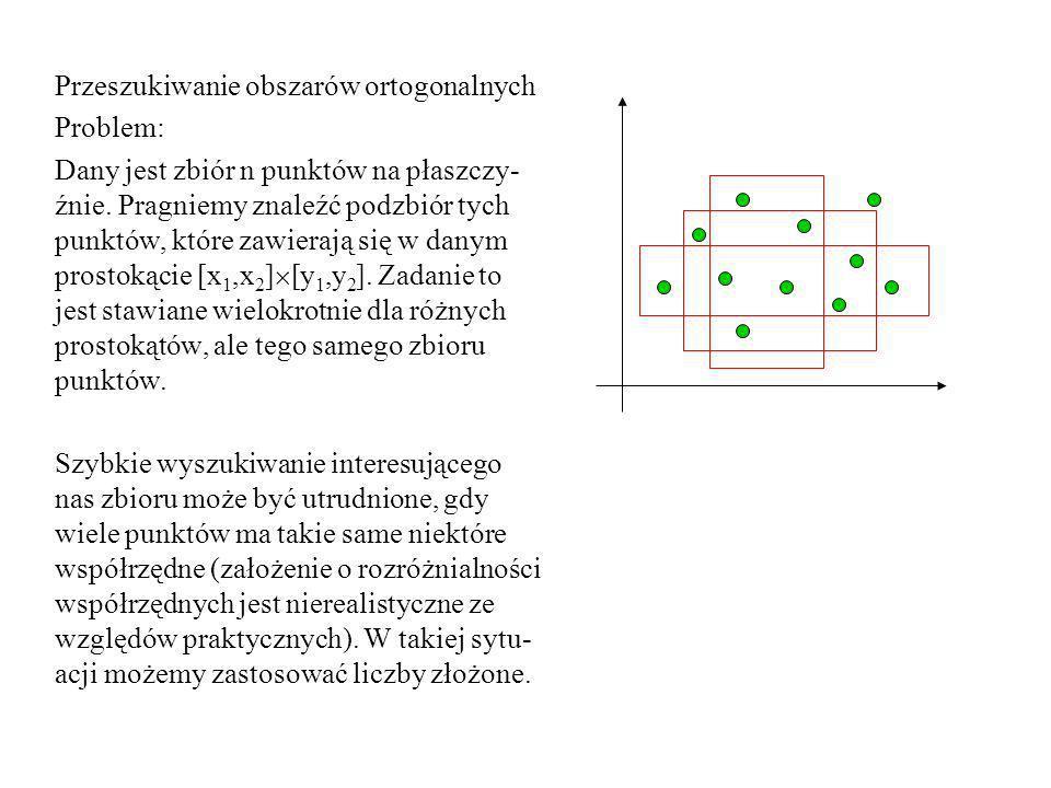 Przeszukiwanie obszarów ortogonalnych Problem: Dany jest zbiór n punktów na płaszczy- źnie. Pragniemy znaleźć podzbiór tych punktów, które zawierają s