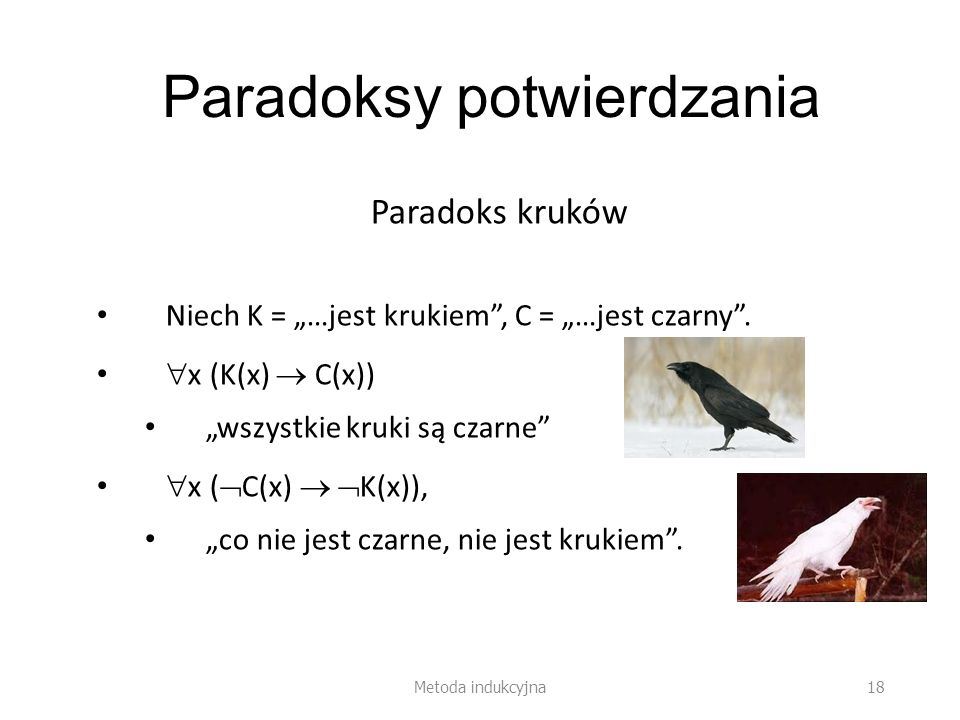 Paradoksy potwierdzania Paradoks kruków Niech K = …jest krukiem, C = …jest czarny. x (K(x) C(x)) wszystkie kruki są czarne x ( C(x) K(x)), co nie jest