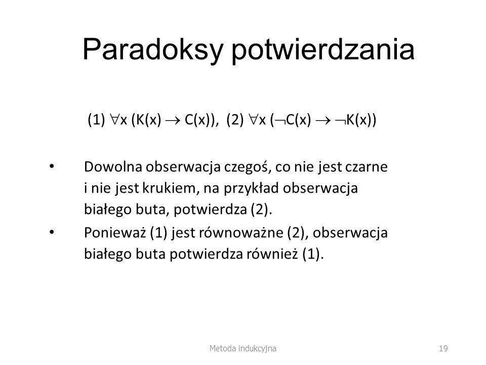 Paradoksy potwierdzania (1) x (K(x) C(x)), (2) x ( C(x) K(x)) Dowolna obserwacja czegoś, co nie jest czarne i nie jest krukiem, na przykład obserwacja białego buta, potwierdza (2).
