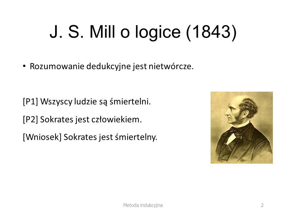 J. S. Mill o logice (1843) Rozumowanie dedukcyjne jest nietwórcze. [P1] Wszyscy ludzie są śmiertelni. [P2] Sokrates jest człowiekiem. [Wniosek] Sokrat