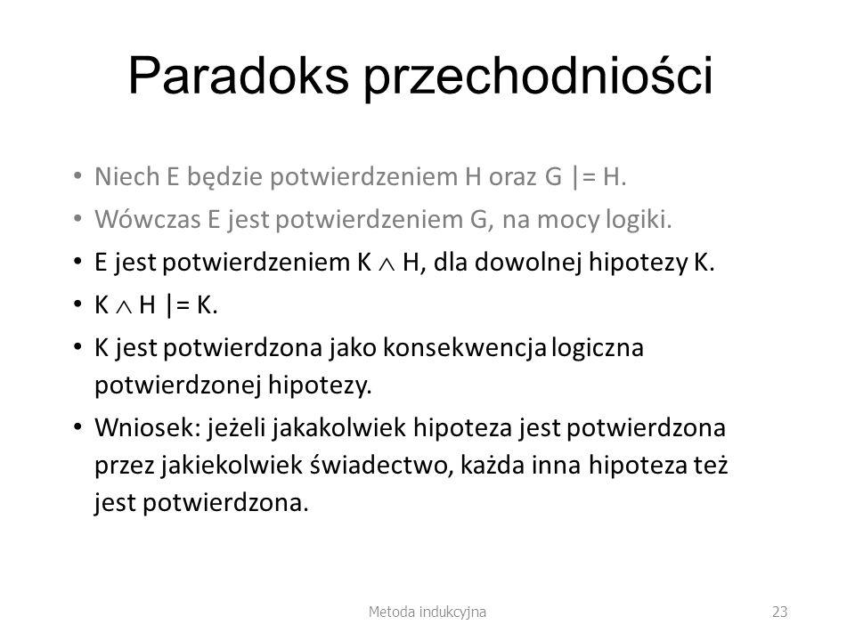 Paradoks przechodniości Niech E będzie potwierdzeniem H oraz G |= H. Wówczas E jest potwierdzeniem G, na mocy logiki. E jest potwierdzeniem K H, dla d