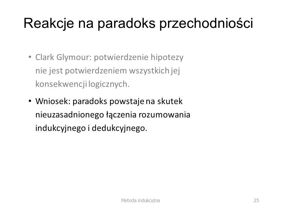Reakcje na paradoks przechodniości Clark Glymour: potwierdzenie hipotezy nie jest potwierdzeniem wszystkich jej konsekwencji logicznych. Wniosek: para