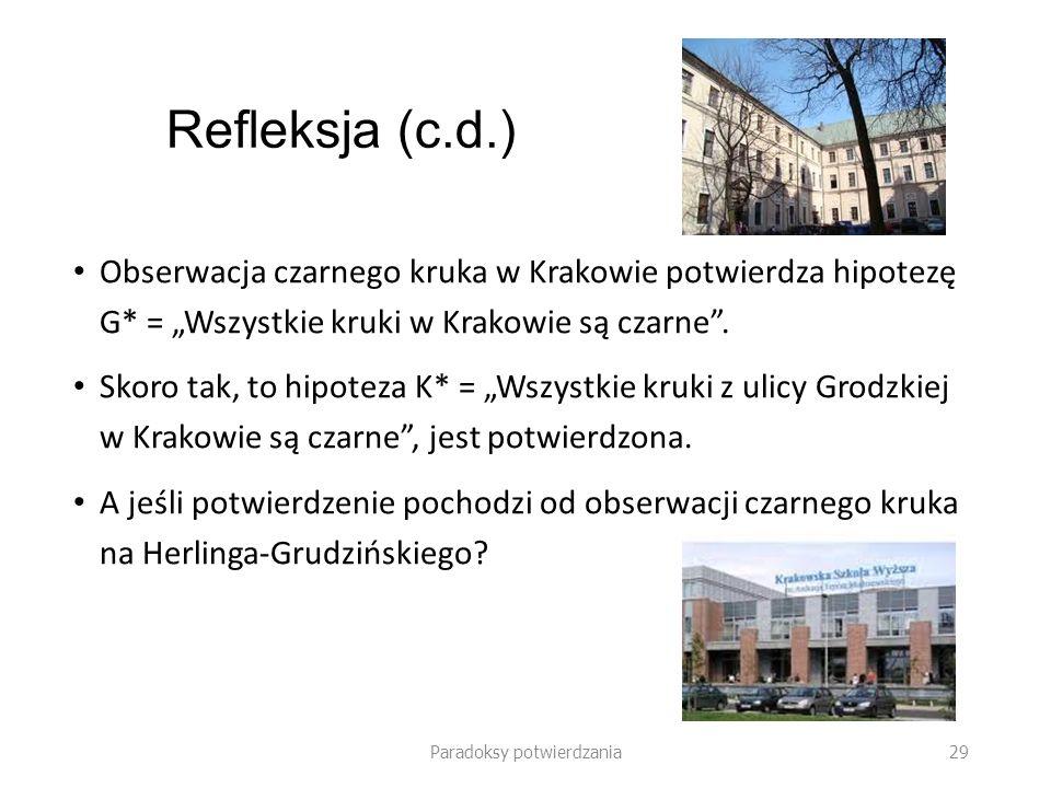 Paradoksy potwierdzania 30 Refleksja (c.d.) Czy obserwacja czarnego kruka na Herlinga-Grudzińskiego (w Krakowie) potwierdza hipotezę K* = Wszystkie kruki z ulicy Grodzkiej (w Krakowie) są czarne.