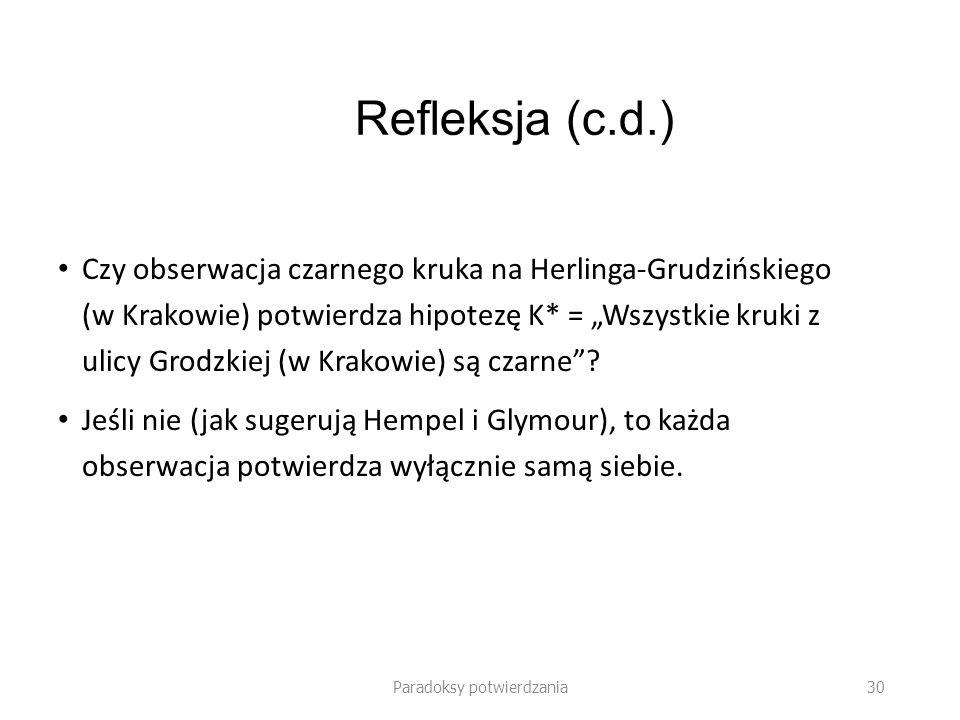 Paradoksy potwierdzania 30 Refleksja (c.d.) Czy obserwacja czarnego kruka na Herlinga-Grudzińskiego (w Krakowie) potwierdza hipotezę K* = Wszystkie kr