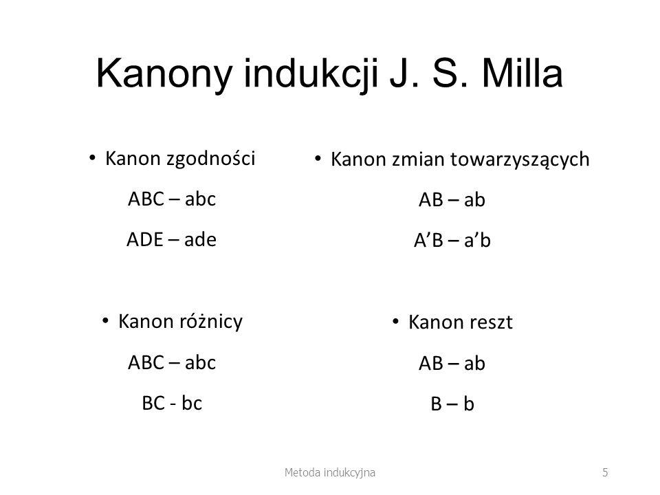 Kanony indukcji J. S. Milla Kanon zgodności ABC – abc ADE – ade Kanon różnicy ABC – abc BC - bc Kanon zmian towarzyszących AB – ab Kanon reszt AB – ab