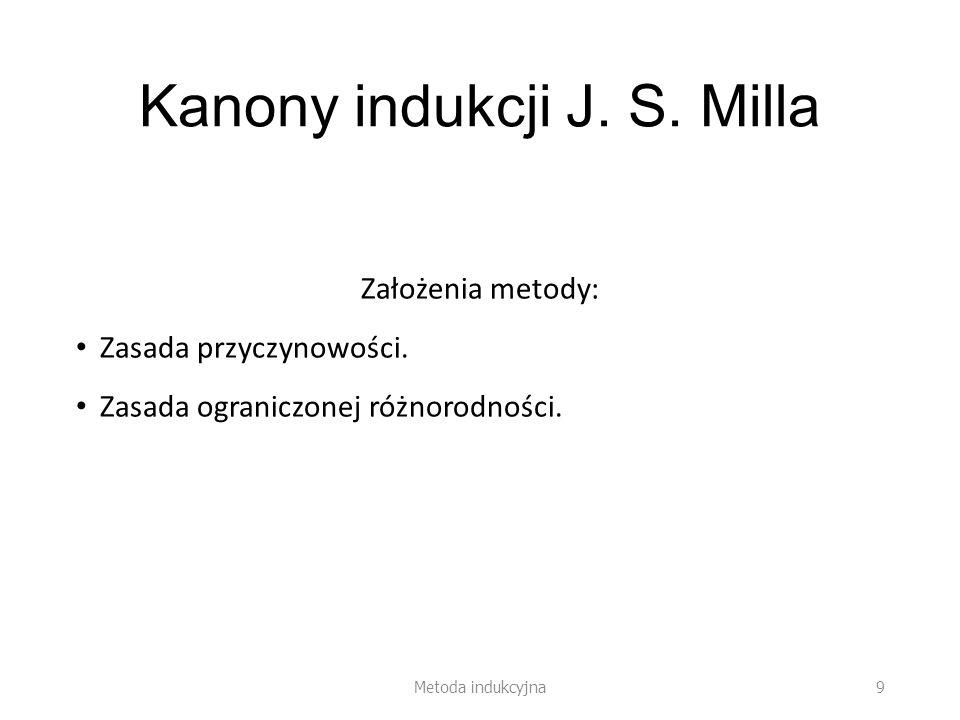 Kanony indukcji J. S. Milla Założenia metody: Zasada przyczynowości. Zasada ograniczonej różnorodności. Metoda indukcyjna 9