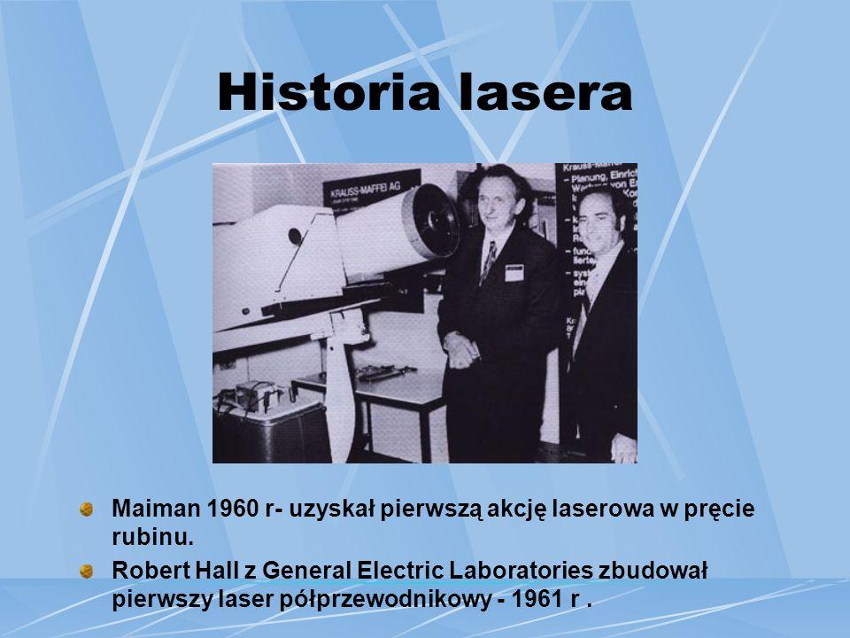 Historia lasera Albert Einstein 1917 r – stwierdził, iż możliwa jest wymuszona emisja światła przez atomy.