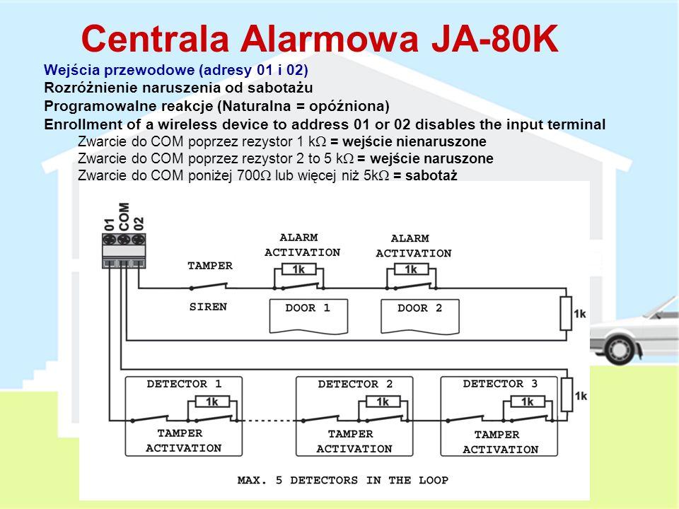Cechy 1: Akumulator 1.3Ah lub 2.6Ah Pobór prądu w czasie czuwania 50 mA Wyjścia: EW – ostrzeżenie zewnętrzne (suchy styk, max. 1A) IW – ostrzeżenie we