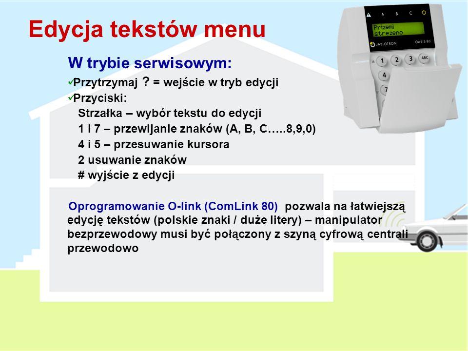 Manipulator JA-80F LCD (2x 14 znaków) 1 linia = status lub zdarzenie 2 linia = nazwa lub źródło Menu Manipulatora – 15 języków oraz funkcja gongu Wbudowany czytnik katr zbliżeniowych i pastylek Dallas Wejście przewodowe (NC, Naturalna reakcja = Opóźnione) Klawisze strzałki służące do kontroli PGX A, B & ABC klawisze szybkiego uzbrajania .