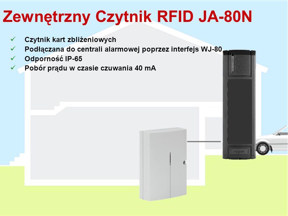 Manipulator ZewnętrznyJA-80H Wbudowany czytnik kart zbliżeniowych Podłączana do centrali alarmowej poprzez interfejs WJ-80 Przycisk dzwonka do drzwi Podświetlane klawisze Odporność IP-65 Pobór prądu w czasie czuwania 45 mA