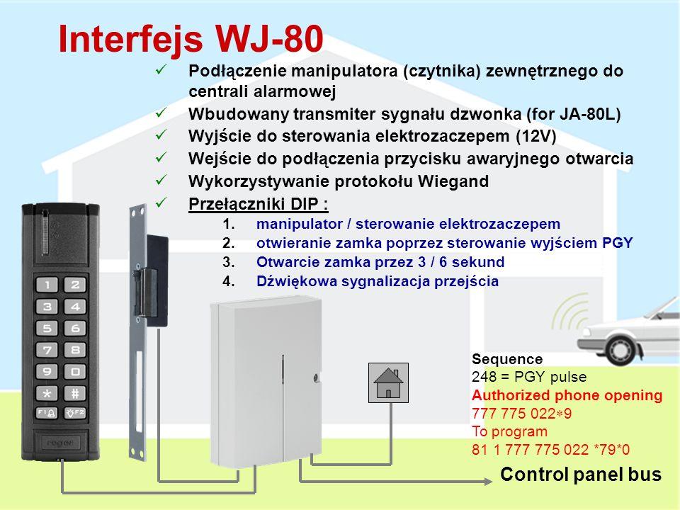 Zewnętrzny Czytnik RFID JA-80N Czytnik kart zbliżeniowych Podłączana do centrali alarmowej poprzez interfejs WJ-80 Odporność IP-65 Pobór prądu w czasie czuwania 40 mA