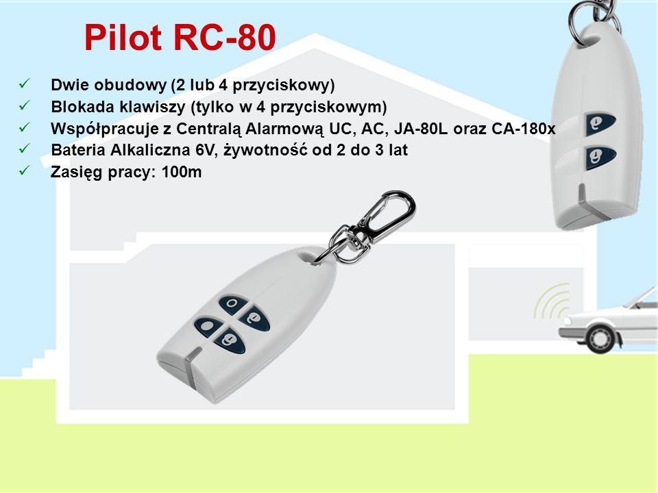 Interfejs WJ-80 Podłączenie manipulatora (czytnika) zewnętrznego do centrali alarmowej Wbudowany transmiter sygnału dzwonka (for JA-80L) Wyjście do st