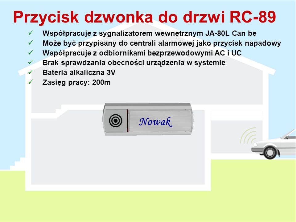 Przełączniki DIP : Panic (zdalne sterowanie / przycisk napadowy) TMP (wyłączenie styków sabotażowych i nadzoru urządzenia) Współpracuje z Centralą Alarmową UC, AC, JA-80L 1x 1/2 AA Litowa bateria 3V (3 lata żywotności, max.