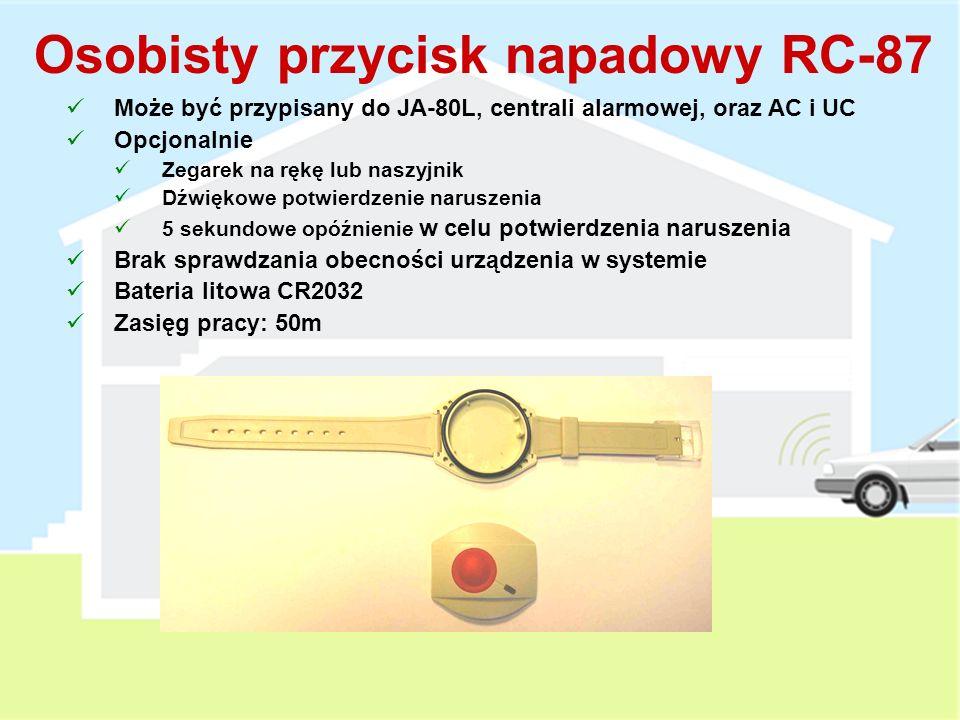 Przycisk dzwonka do drzwi RC-89 Współpracuje z sygnalizatorem wewnętrznym JA-80L Can be Może być przypisany do centrali alarmowej jako przycisk napadowy Współpracuje z odbiornikami bezprzewodowymi AC i UC Brak sprawdzania obecności urządzenia w systemie Bateria alkaliczna 3V Zasięg pracy: 200m Nowak