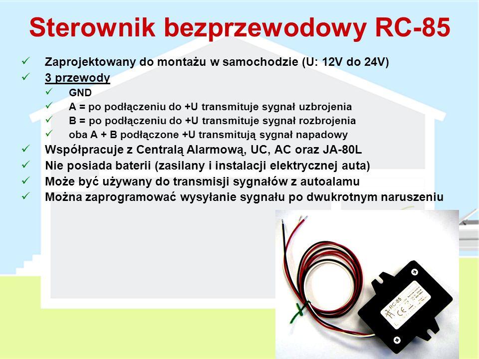 Osobisty przycisk napadowy RC-87 Może być przypisany do JA-80L, centrali alarmowej, oraz AC i UC Opcjonalnie Zegarek na rękę lub naszyjnik Dźwiękowe potwierdzenie naruszenia 5 sekundowe opóźnienie w celu potwierdzenia naruszenia Brak sprawdzania obecności urządzenia w systemie Bateria litowa CR2032 Zasięg pracy: 50m