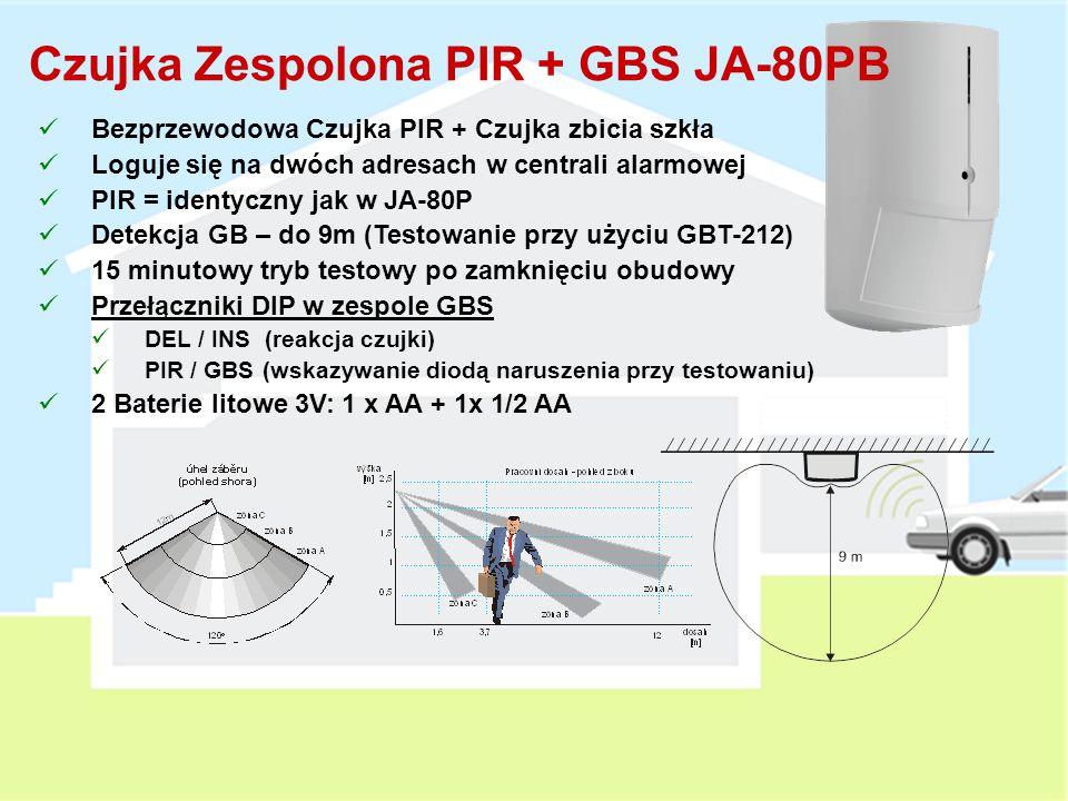 Pasywna Czujka Podczerwieni JA-80P Bezprzewodowa Czujka PIR Wbudowane wejście przewodowe (taka sama reakcja jak czujka PIR) 15 minutowy tryb testowy po zamknięciu obudowy 5 minutowy czas uśpienia (może być skrócony do jednej minuty) Przełączniki DIP DEL / INS (reakcja czujki) NORM / HIGH (poziom czułości 450ms/750ms) Zasięg detekcji 120° / 12m Wymienne optyki (odporna na zwierzęta, korytarzowa, kurtyna pionowa) 1 x AA Bateria litowa 3V (3 lata żywotności)