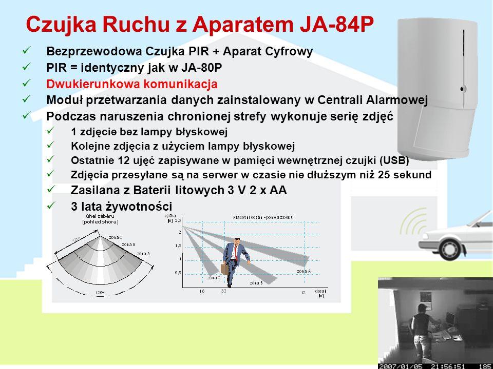 Czujka Zespolona PIR + GBS JA-80PB Bezprzewodowa Czujka PIR + Czujka zbicia szkła Loguje się na dwóch adresach w centrali alarmowej PIR = identyczny jak w JA-80P Detekcja GB – do 9m (Testowanie przy użyciu GBT-212) 15 minutowy tryb testowy po zamknięciu obudowy Przełączniki DIP w zespole GBS DEL / INS (reakcja czujki) PIR / GBS (wskazywanie diodą naruszenia przy testowaniu) 2 Baterie litowe 3V: 1 x AA + 1x 1/2 AA