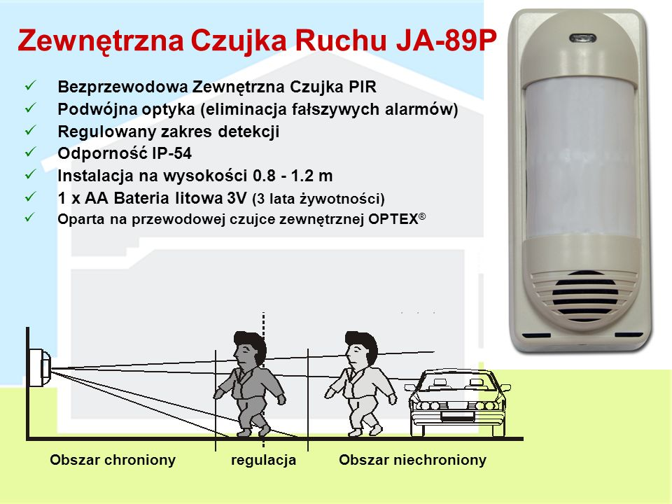 Czujka Ruchu z Aparatem JA-84P Bezprzewodowa Czujka PIR + Aparat Cyfrowy PIR = identyczny jak w JA-80P Dwukierunkowa komunikacja Moduł przetwarzania danych zainstalowany w Centrali Alarmowej Podczas naruszenia chronionej strefy wykonuje serię zdjęć 1 zdjęcie bez lampy błyskowej Kolejne zdjęcia z użyciem lampy błyskowej Ostatnie 12 ujęć zapisywane w pamięci wewnętrznej czujki (USB) Zdjęcia przesyłane są na serwer w czasie nie dłuższym niż 25 sekund Zasilana z Baterii litowych 3 V 2 x AA 3 lata żywotności