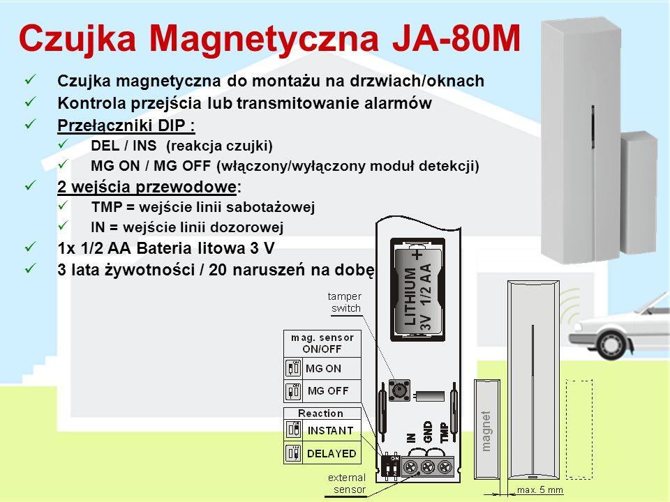 Bezprzewodowa Zewnętrzna Czujka PIR Podwójna optyka (eliminacja fałszywych alarmów) Regulowany zakres detekcji Odporność IP-54 Instalacja na wysokości 0.8 - 1.2 m 1 x AA Bateria litowa 3V (3 lata żywotności) Oparta na przewodowej czujce zewnętrznej OPTEX ® Obszar chroniony regulacja Obszar niechroniony Zewnętrzna Czujka Ruchu JA-89P