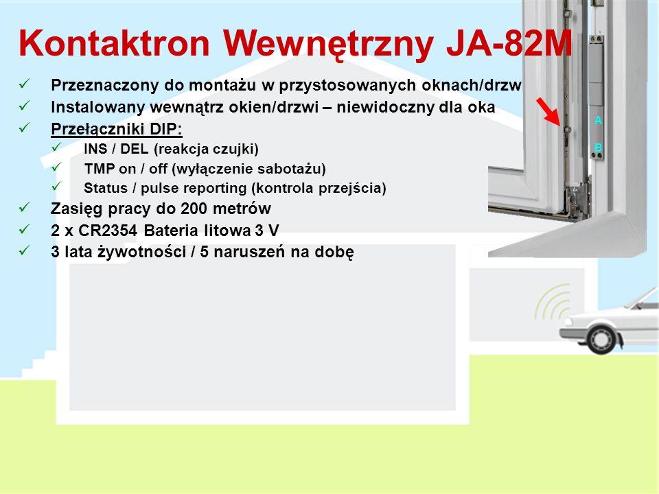 Czujka Magnetyczna JA-80M Czujka magnetyczna do montażu na drzwiach/oknach Kontrola przejścia lub transmitowanie alarmów Przełączniki DIP : DEL / INS (reakcja czujki) MG ON / MG OFF (włączony/wyłączony moduł detekcji) 2 wejścia przewodowe: TMP = wejście linii sabotażowej IN = wejście linii dozorowej 1x 1/2 AA Bateria litowa 3 V 3 lata żywotności / 20 naruszeń na dobę