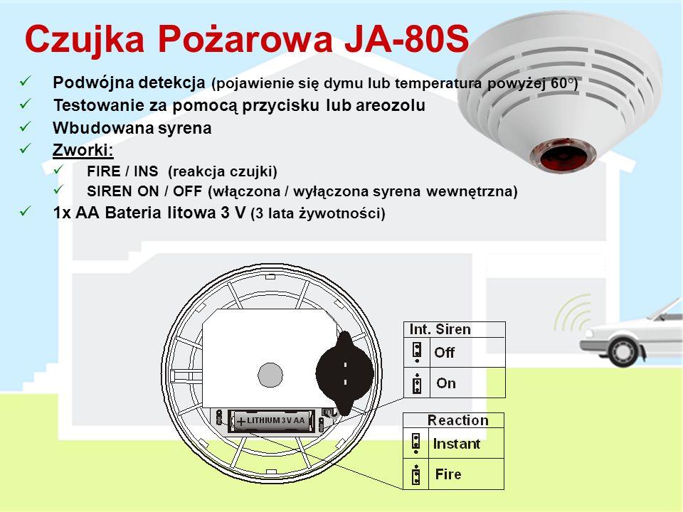 Przeznaczony do montażu w przystosowanych oknach/drzwiach Instalowany wewnątrz okien/drzwi – niewidoczny dla oka Przełączniki DIP: INS / DEL (reakcja czujki) TMP on / off (wyłączenie sabotażu) Status / pulse reporting (kontrola przejścia) Zasięg pracy do 200 metrów 2 x CR2354 Bateria litowa 3 V 3 lata żywotności / 5 naruszeń na dobę A B Kontaktron Wewnętrzny JA-82M