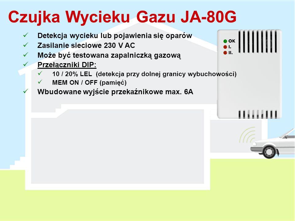 Podwójna detekcja (pojawienie się dymu lub temperatura powyżej 60°) Testowanie za pomocą przycisku lub areozolu Wbudowana syrena Zworki: FIRE / INS (reakcja czujki) SIREN ON / OFF (włączona / wyłączona syrena wewnętrzna) 1x AA Bateria litowa 3 V (3 lata żywotności) Czujka Pożarowa JA-80S