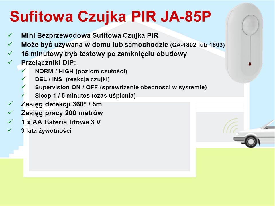 Czujka Wycieku Gazu JA-80G Detekcja wycieku lub pojawienia się oparów Zasilanie sieciowe 230 V AC Może być testowana zapalniczką gazową Przełączniki DIP: 10 / 20% LEL (detekcja przy dolnej granicy wybuchowości) MEM ON / OFF (pamięć) Wbudowane wyjście przekaźnikowe max.