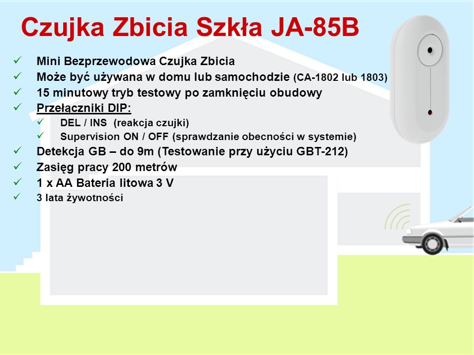 Sufitowa Czujka PIR JA-85P Mini Bezprzewodowa Sufitowa Czujka PIR Może być używana w domu lub samochodzie (CA-1802 lub 1803) 15 minutowy tryb testowy