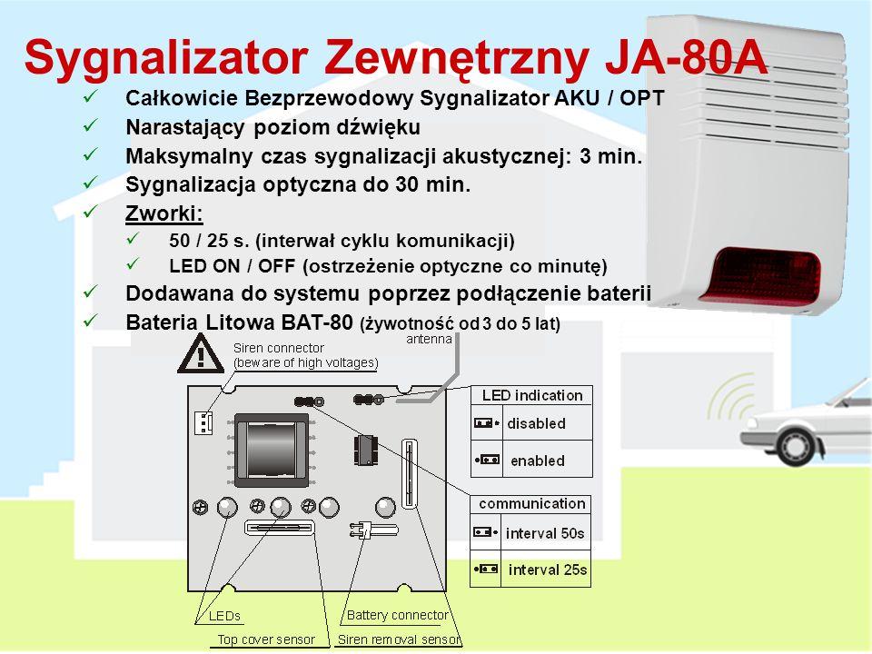 Sygnalizator wewnętrzny JA-80L Zasilanie Sieciowe 230 V AC Wyciągnięcie JA-80L z gniazda w czasie czuwania alarmu spowoduje wywołanie alarmu sabotażowego.