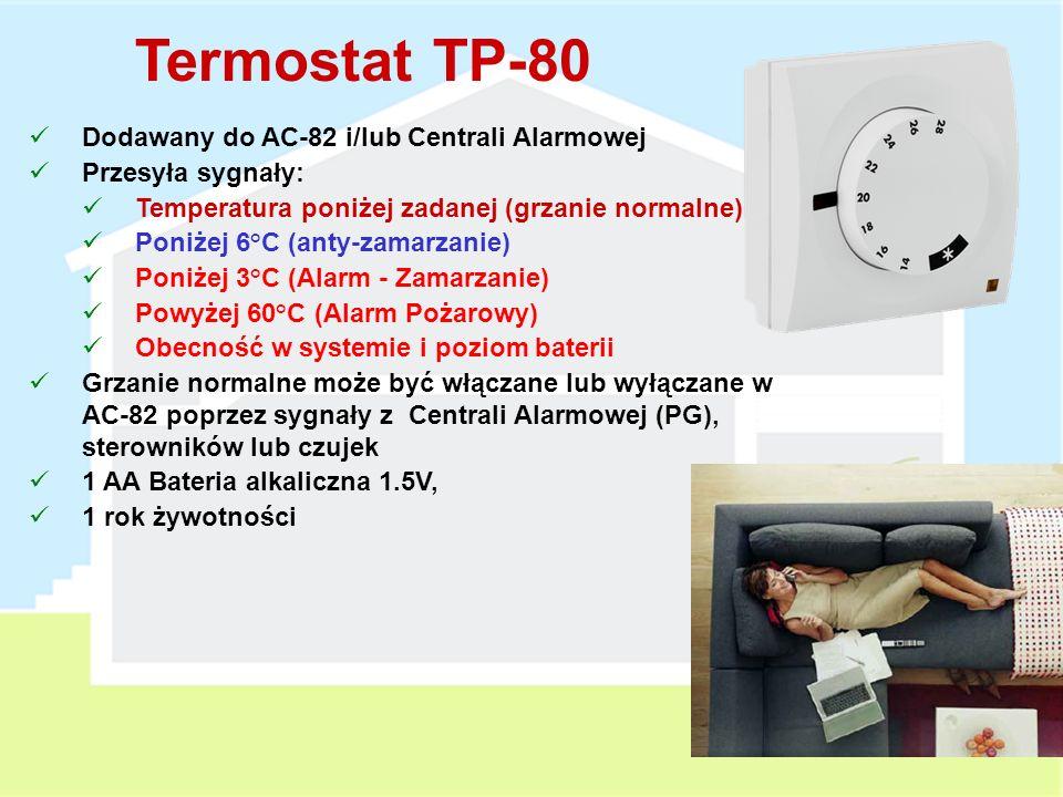 Moduł Wyjść AC-82 Zasilanie sieciowe 230V AC, 50Hz 2 wyjścia przekaźnikowe (X & Y) - max 5A Może współpracować z: Centralą Alarmową Czujkami Sterownikami RC-8x Termostatami TP-8x