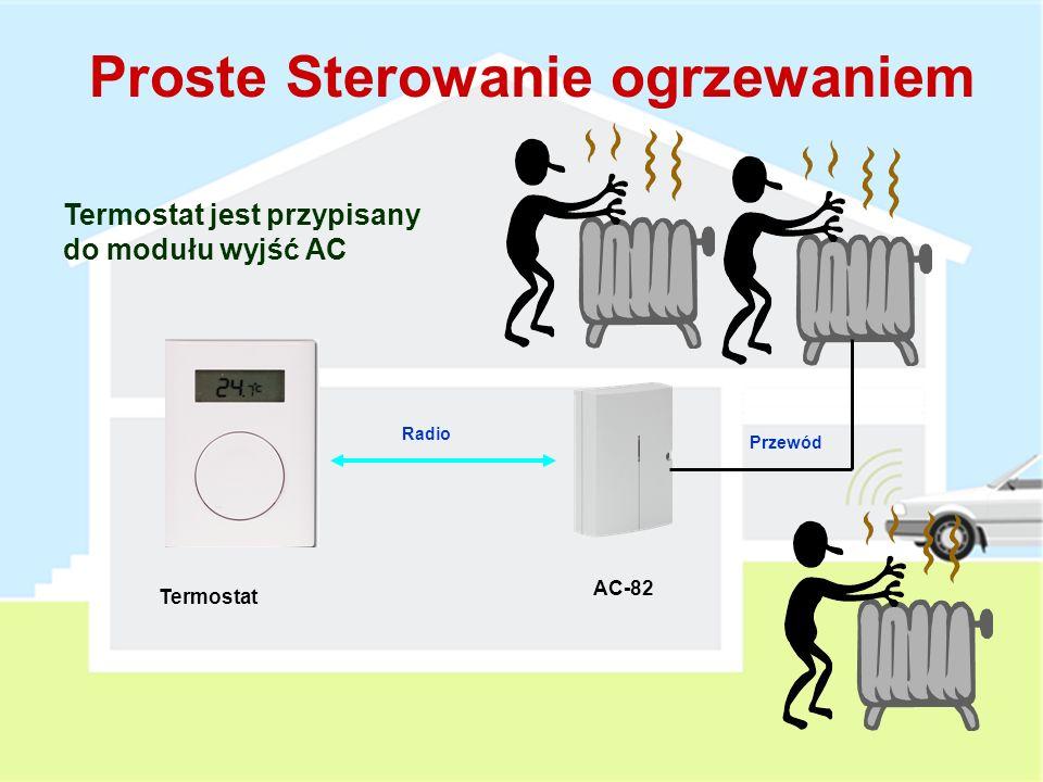 Termostat TP-82 Dodawany do AC-82 i/lub Centrali Alarmowej Wskazywanie bieżącej temperatury Przesyła sygnały: Temperatura poniżej zadanej (grzanie normalne) Poniżej 6°C (anty-zamarzanie) Poniżej 3°C (Alarm - Zamarzanie) Powyżej 60°C (Alarm Pożarowy) Obecność w systemie i poziom baterii Grzanie normalne może być włączane lub wyłączane w AC-82 poprzez sygnały z Centrali Alarmowej (PG), sterowników lub czujek 1 AA Bateria alkaliczna 1.5V, 1 rok żywotności