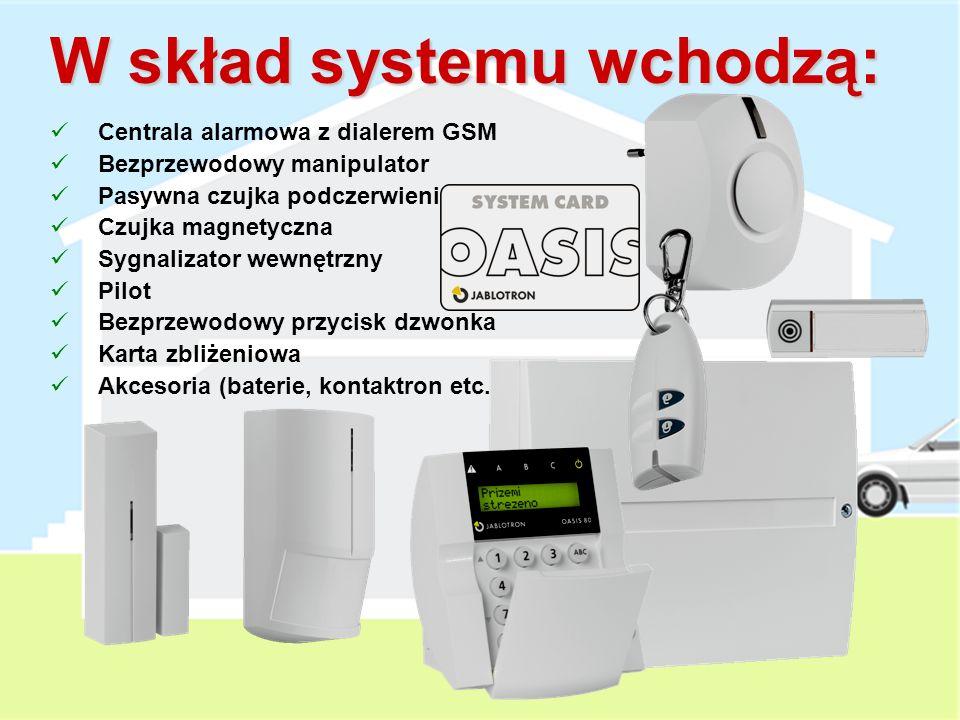 W skład systemu wchodzą: Centrala alarmowa z dialerem GSM Bezprzewodowy manipulator Pasywna czujka podczerwieni Czujka magnetyczna Sygnalizator wewnętrzny Pilot Bezprzewodowy przycisk dzwonka Karta zbliżeniowa Akcesoria (baterie, kontaktron etc.)