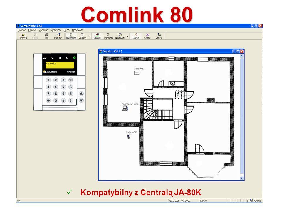 Interfejs JA-80T Połączenie fizyczne Centrali Alarmowej z komputrerem Podłączany do portu US Współpracuje z oprogramowaniem Comlink oraz O-link JA-80BT Wersja bluetooth