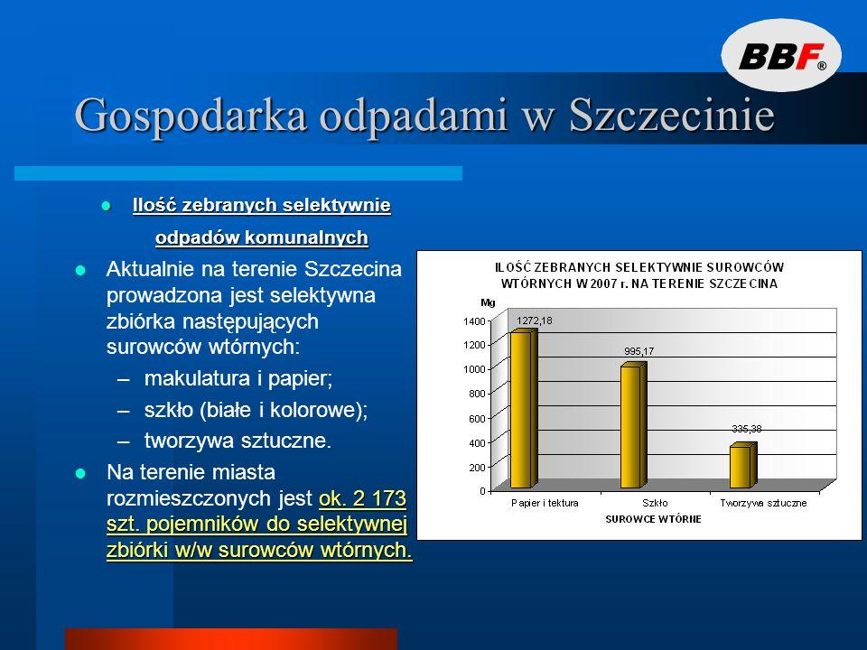 Gospodarka odpadami w Szczecinie SELEKTYWNA ZBIÓRKA ODPADÓW ULEGAJACYCH BIODEGRADACJI SELEKTYWNA ZBIÓRKA ODPADÓW ULEGAJACYCH BIODEGRADACJI Selektywna zbiórka odpadów ulegających biodegradacji prowadzona jest na terenie miasta przez 6 podmiotów gospodarczych.