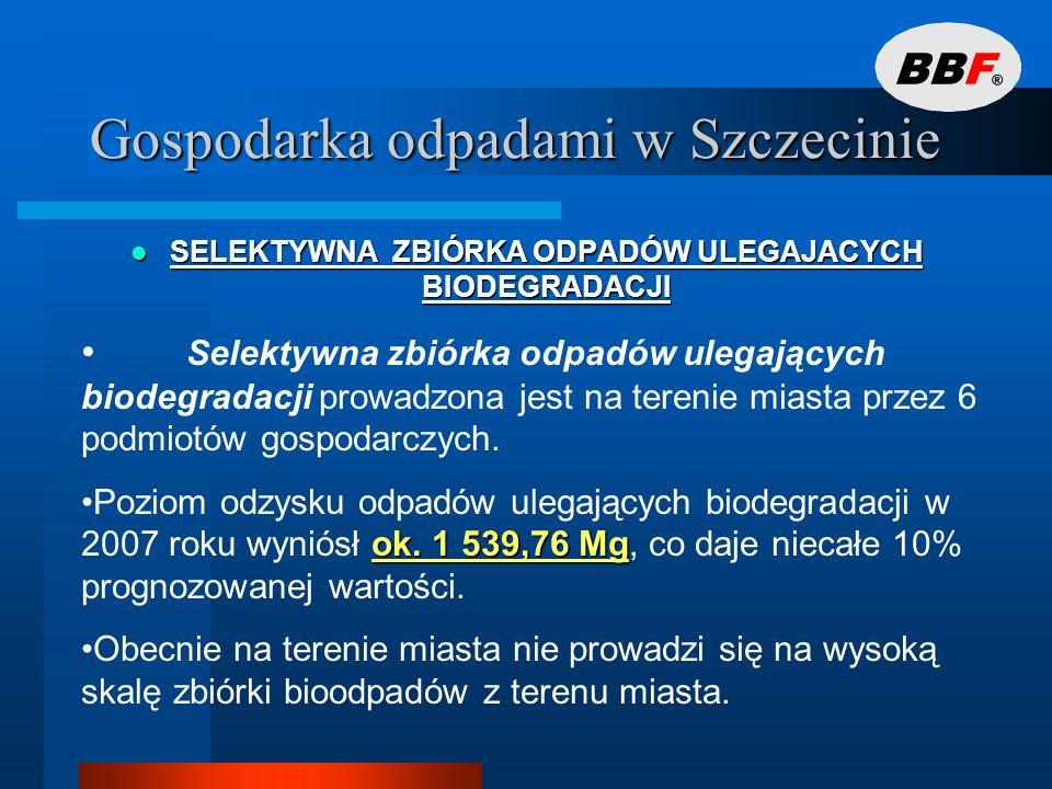 Gospodarka odpadami w Szczecinie SELEKTYWNA ZBIÓRKA ODPADÓW NIEBEZPIECZNYCH ZE STRUMIENIA ODPADÓW KOMUNALNYCH SELEKTYWNA ZBIÓRKA ODPADÓW NIEBEZPIECZNYCH ZE STRUMIENIA ODPADÓW KOMUNALNYCH sześciu Punktów Zbiórki Odpadów Problemowych (tzw.