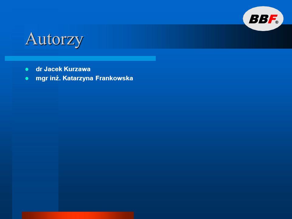 Autorzy dr Jacek Kurzawa mgr inż. Katarzyna Frankowska